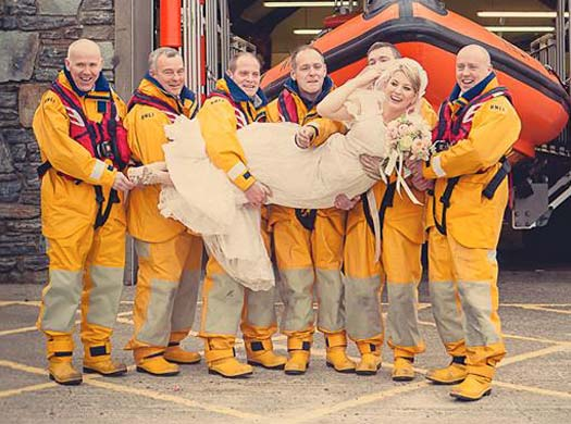 New bride Sinéad O'Sullivan with her fellow Clifden lifeboat crew