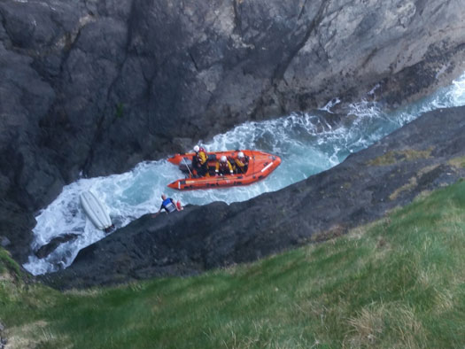Fethard-on-Sea RNLI launched to rescue man trapped in gully