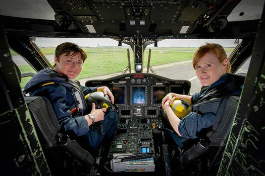 Captains Dara Fitzpatrick and Carmel Kirby in the cockpit of Rescue 115