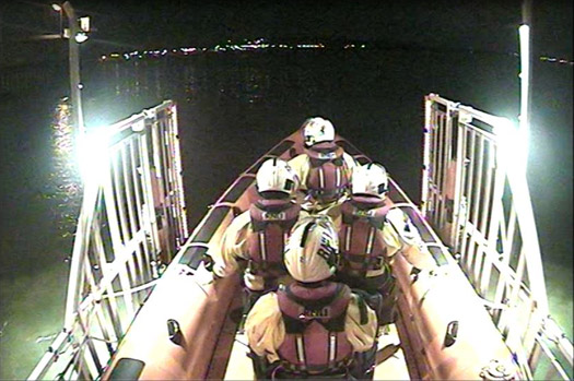 The Skerries RNLI crew launch to a reported flare sighting off Balbriggan