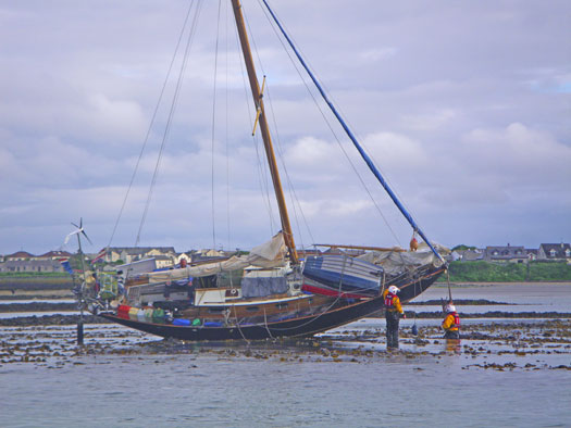 Skerries RNLI volunteers attend to the grounded yacht