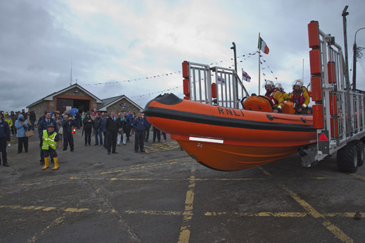 Guests view the new Atlantic 85 lifeboat Louis Simson before it launches at Skerries