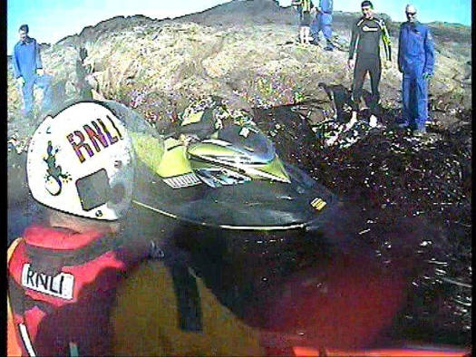 Helmet-cam image from the RNLI Stranraer water scooter shout