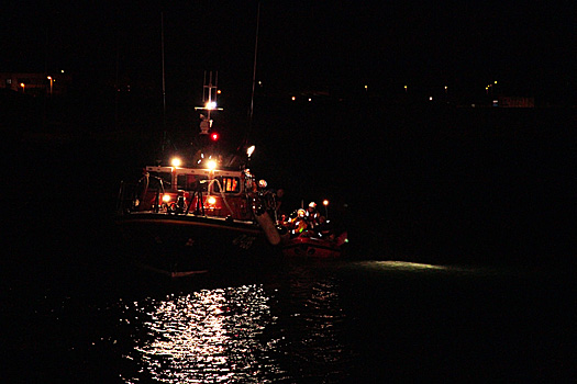 The Wicklow all-weather lifeboat in a medical evacuation