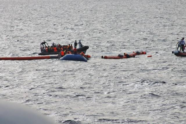 The Naval Service aided the rescue of migrants from a rubber vessel off Libya this morning