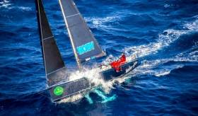 Powering along. The Cookson 50 Mascalzone Latino using her canting keel to full advantage to carve out a clear win the Rolex Middle Sea Race 2016