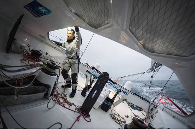 The French leader Armel Le Cléac'h is currently 36 nautical miles from the Vendee Globe finish line